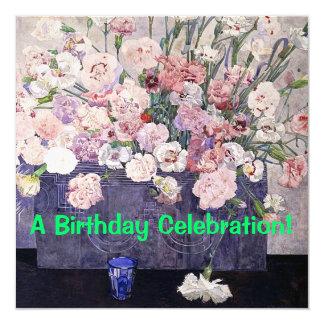 Pink Carnations Fine Art Birthday Invitation