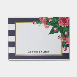 Pink Carnations & Navy Blue Stripes Custom Name Post-it Notes