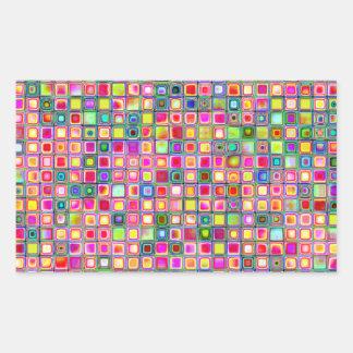 Pink 'Carnations' Textured Mosaic Tiles Pattern Rectangular Sticker