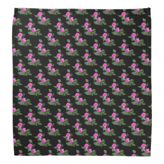 Pink Carnations with Black Background Bandana