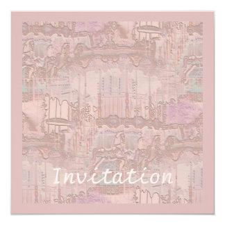 Pink Carousel Abstract 13 Cm X 13 Cm Square Invitation Card
