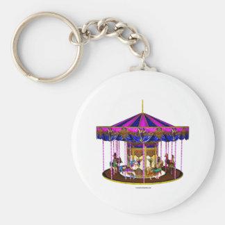 Pink Carousel Basic Round Button Key Ring