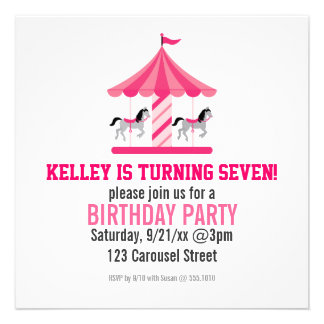 Pink Carousel Birthday Party Invitation