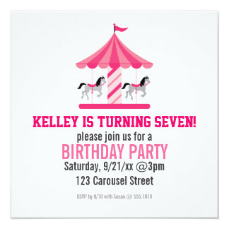 "Pink Carousel Birthday Party Invitation 5.25"" Square Invitation Card"