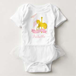 Pink Carousel Horse Birthday Girl Baby Bodysuit