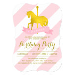 Pink Carousel Horse Birthday Party 13 Cm X 18 Cm Invitation Card