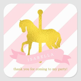 Pink Carousel Horse Birthday Sticker