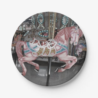 Pink carousel horse paper plate