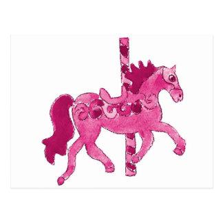 Pink Carousel Horse Postcard