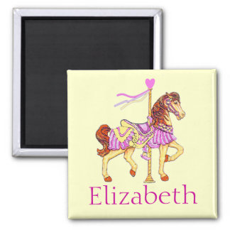 Pink Carousel Horse Square Magnet