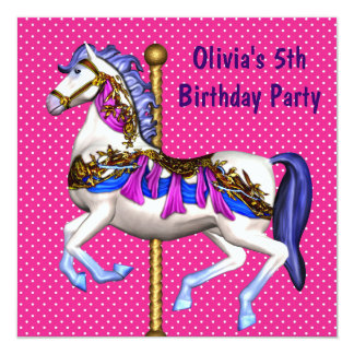 Pink Carousel Pony Girls 5th Birthday Party 13 Cm X 13 Cm Square Invitation Card