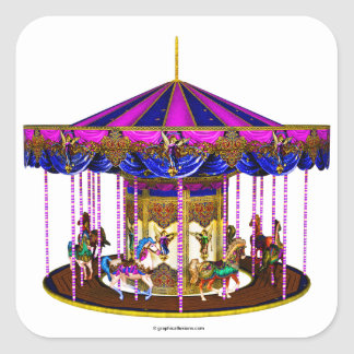 Pink Carousel Square Stickers