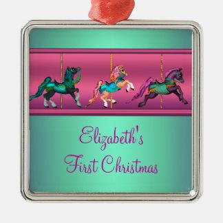Pink Carousel Teal & Purple Baby's Frist Christmas Christmas Ornament