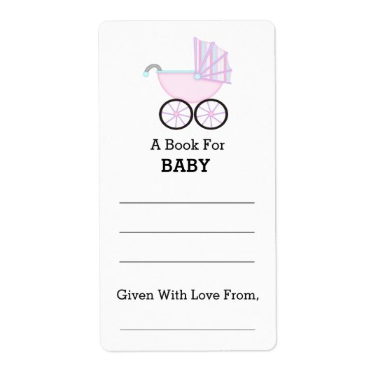 Pink Carriage Girl Baby Shower Bookplate Shipping Label