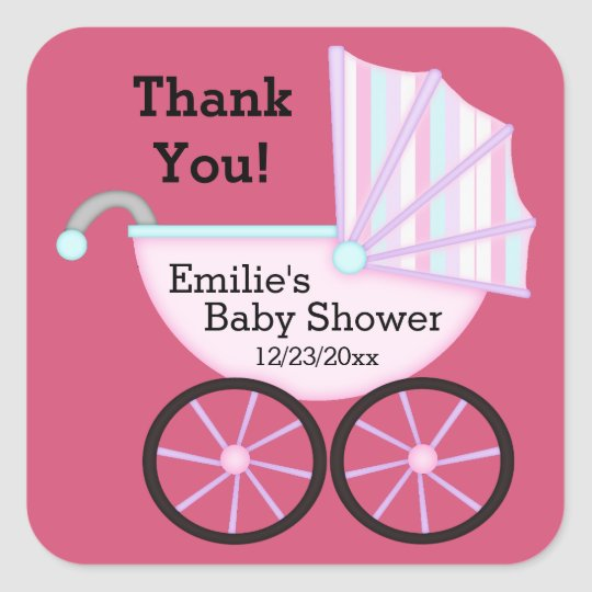 Pink Carriage Girl Thank You Baby Shower Stickers