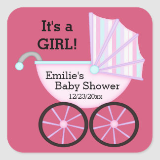 Pink Carriage It's a Girl Baby Shower Stickers