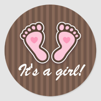 Pink cartoon baby feet with hearts brown stickers