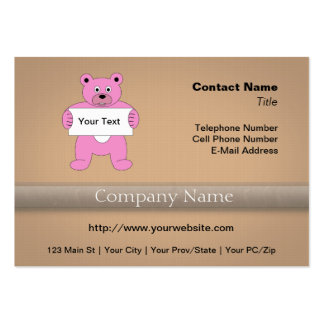 Pink Cartoon Bear with Sign (add your own text) Pack Of Chubby Business Cards