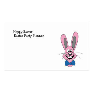 Pink Cartoon Bunny With Blue Bow Tie Business Card Templates