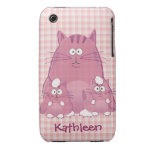 Pink Cartoon Cats & Name iPhone 3G/3GS Case