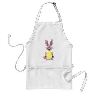Pink Cartoon Easter Bunny Holding Egg Standard Apron