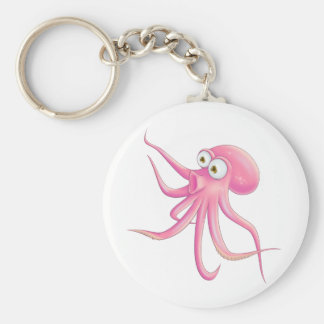 Pink Cartoon Octopus Keychains