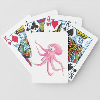 Pink Cartoon Octopus Playing Cards