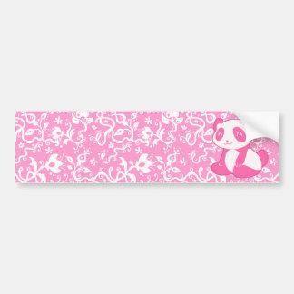 Pink Cartoon Panda Bumper Sticker
