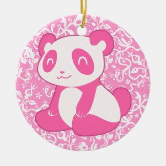 Pink Cartoon Panda Christmas Ornament