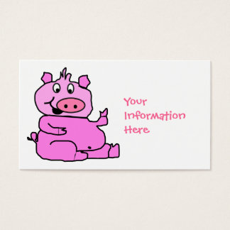 Pink Cartoon Pig Business Card