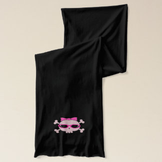 Pink Cartoon Skull With Sunglasses Scarf