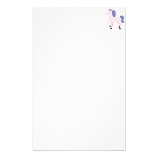 Pink Cartoon Unicorn with Purple Mane and Tail