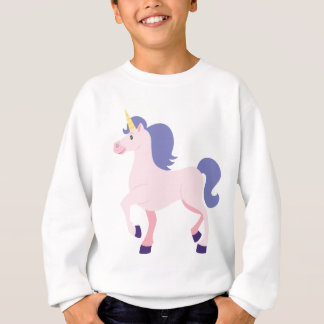 Pink Cartoon Unicorn with Purple Mane and Tail Sweatshirt