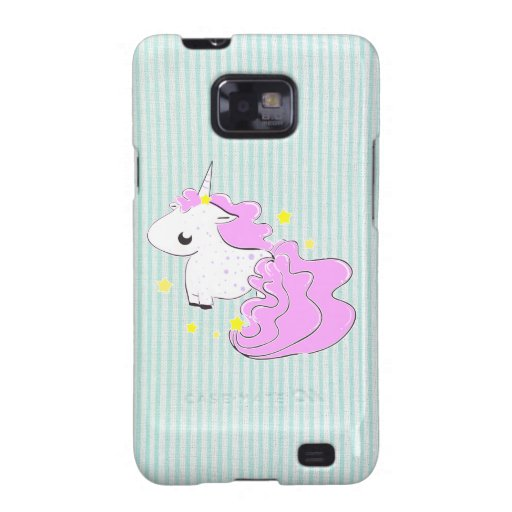 Pink cartoon unicorn with star Samsung Galaxy Case Samsung Galaxy S2 Covers