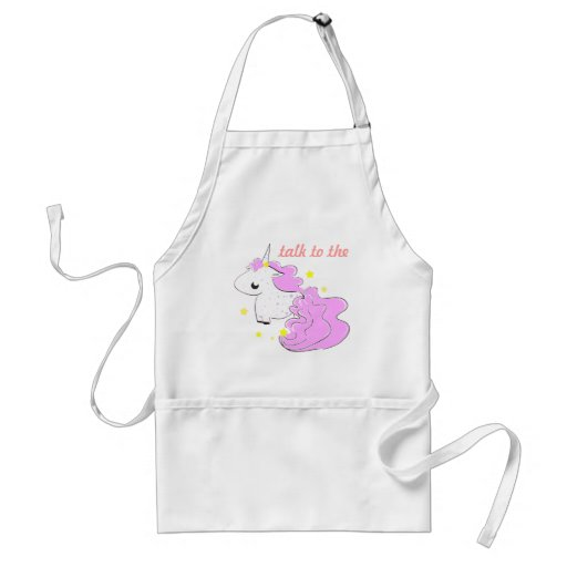 Pink cartoon unicorn with stars apron