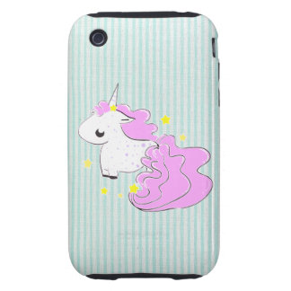 Pink cartoon unicorn with stars iPhone 3G/3GS Case