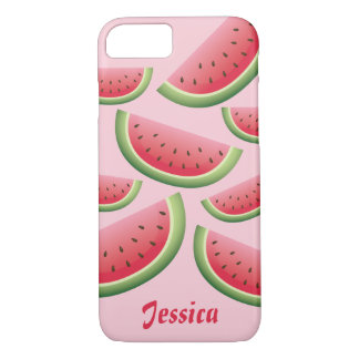 Pink Cartoon Watermelon Slices With Custom Name iPhone 8/7 Case