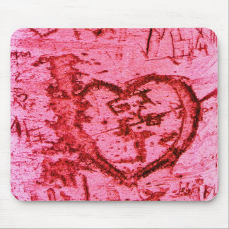 Pink Carved Tree Trunk Grafitti Mouse Mat