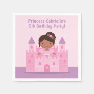Pink Castle Princess Birthday Party Napkins Disposable Napkins