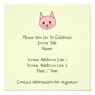 Pink Cat 13 Cm X 13 Cm Square Invitation Card