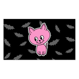 Pink Cat and Bats. Business Cards