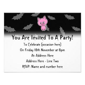 Pink Cat and Bats Custom Invite