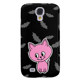 Pink Cat and Bats. Galaxy S4 Case