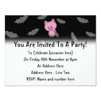 Pink Cat and Bats. Custom Invite