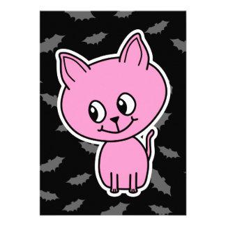 Pink Cat and Bats Invites