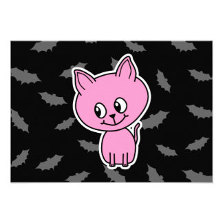 Pink Cat and Bats Personalized Invite