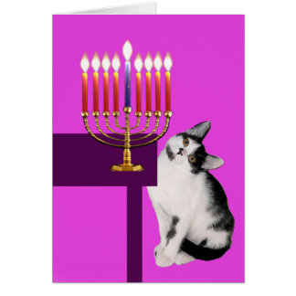 Pink Cat and Menorah Hanukkah Card