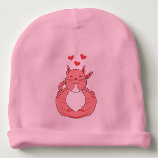 Pink cat baby beanie