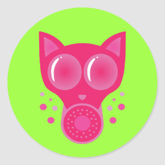 Pink Cat Gas Mask Round Sticker