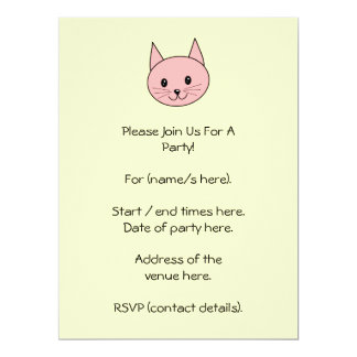 """Pink Cat 6.5"""" X 8.75"""" Invitation Card"""